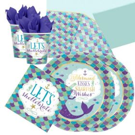 Mermaid Wishes Party Tableware Pack for 16