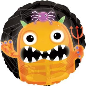 Halloween Boo Crew Orange Monster Foil Balloon 18""