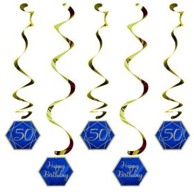 Navy & Gold Geode Party Age 50 Dizzy Danglers, pk5