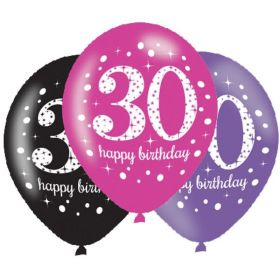 "Pink Sparkling Celebration 30th Latex Balloons 11"", pk6"