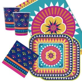 Boho Mexican Fiesta Tableware Party Pack for 16