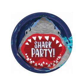 8 Shark Party Plates, 9 ins, pk8