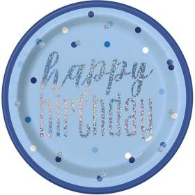Glitz Blue Happy Birthday Plates 23cm, pk8