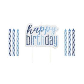 Glitz Blue Happy Birthday Candles Set