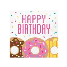 Donut Time Party Happy Birthday Napkins 33cm x 33cm, pk16