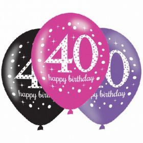 Pink Sparkling Celebration 40th Birthday Latex Balloons, pk6
