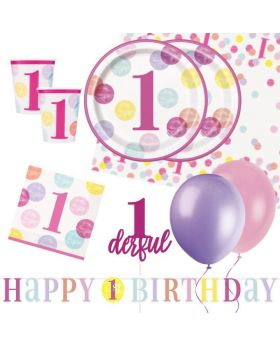 Pink Dots 1st Birthday Party Deluxe Pack for 16