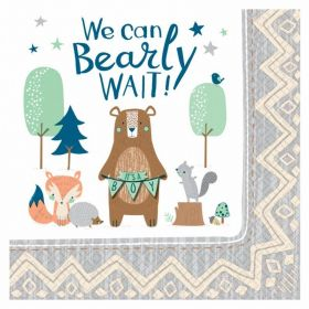 Bear-ly Wait Luncheon Napkins 33cm x 33cm, pk16