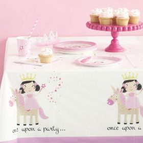 Pink Princess & Unicorn Party Tablecover 1.37m x 2.13m
