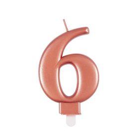 Rose Gold Metallic Number 6 Candle