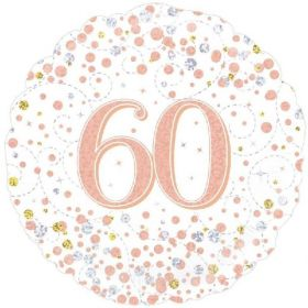 Rose Gold Sparkling Dots 60th Birthday Foil Balloon 18""