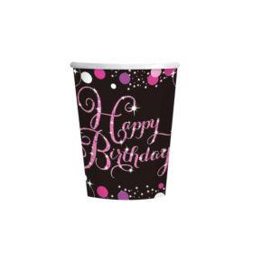 Pink Sparkling Celebration Happy Birthday Cups 266ml, pk8
