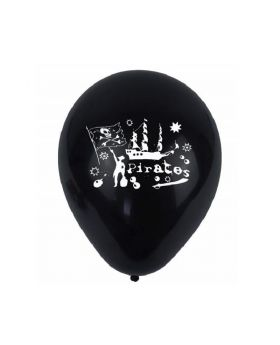"Black Pirate Latex Balloons 9"", pk12"
