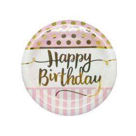 Pink Chic Happy Birthday Dinner Plates 23cm