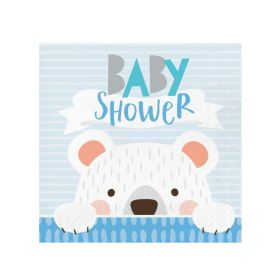 Birthday Bear Baby Shower Napkins 33cm x 33cm, pk16