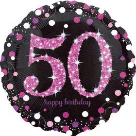 "Pink Sparkling Celebration 50th Birthday Foil Balloon 18"""