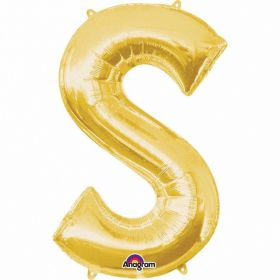 "Letter S Supershape Gold Foil Balloon 34""/""86cm"