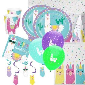 Llama Pastel Party Deluxe Party Pack for 16