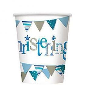 Christening Blue Bunting Party Cups, Pk8