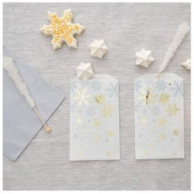 Silver & Gold Snowflakes Party Treat Bags