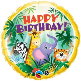 Happy Birthday Jungle Friends Foil Balloon 18""