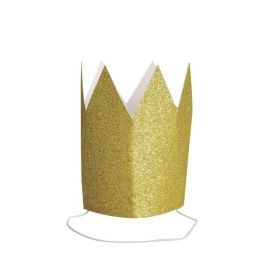 Mini Gold Glitter Paper Crowns, pk4
