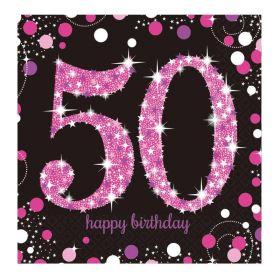 Pink Sparkling Celebration 50th Birthday Luncheon Napkins 33cm x 33cm, pk16