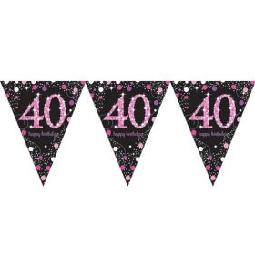 Pink Sparkling Celebration 40th Birthday Flag Banner 4m