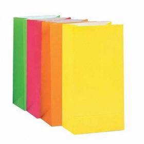 Assorted Neon Paper Party Bags, pk10