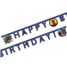 Spiderman Team Up Happy Birthday Letter Banner 2m