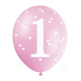 "Pink Gingham 1st Birthday Party Latex Balloons 12"", pk6"