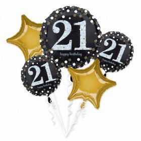 Gold Sparkling Celebration 21st Foil Balloon Bouquets