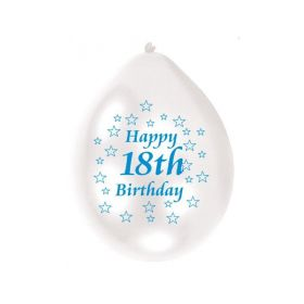 Happy 18th Birthday Blue/White Colours Latex Balloons, pk10