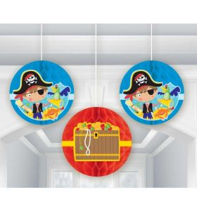 Little Pirate Honeycomb Decorations, pk3
