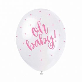 Pink Oh Baby Helium Quality Latex Balloons, pk5