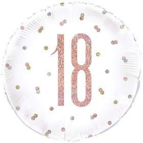 "Glitz Rose Gold Age 18 Foil Balloon 18"""