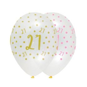 Pink Chic Happy Age 21 Latex Balloons 12'', pk6