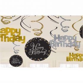 Gold Sparkling Celebration Swirl Decorations - pk12