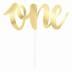 Gold ''One'' Cake Topper Pick