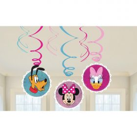 Minnie Mouse Swirl Decorations, pk6