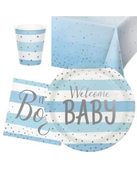 Blue and Silver Baby Shower Party Tableware Pack for 8