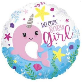 Narwhal Baby Girl Foil Balloon 18""