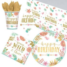 Boho Wild 3rd Birthday Tableware Pack for 8