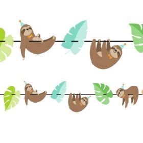 Sloth Party Shaped Ribbon Banner 2m