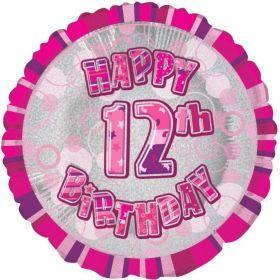 "Pink Glitz Age 12 Foil Balloon 18"""