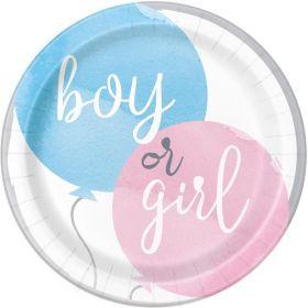 Gender Reveal Party Plates 23cm, pk8