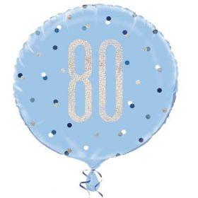 "Glitz Blue Age 80 Foil Balloon 18"""