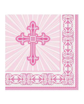 Pink Christening Radiant Cross Napkins 33cm x 33cm, pk16