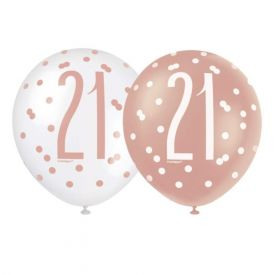"Glitz Rose Gold Age 21 Latex Balloons 12"", pk6"