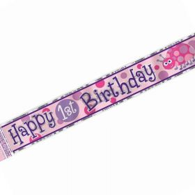 1st Birthday Ladybug Party Foil Banner 12ft